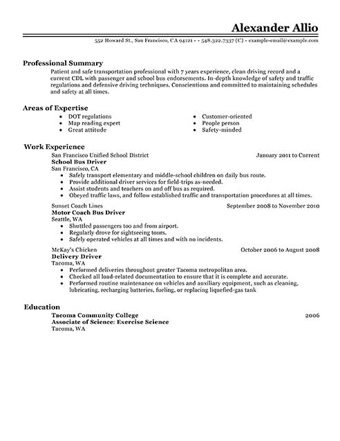 resume driver san francisco