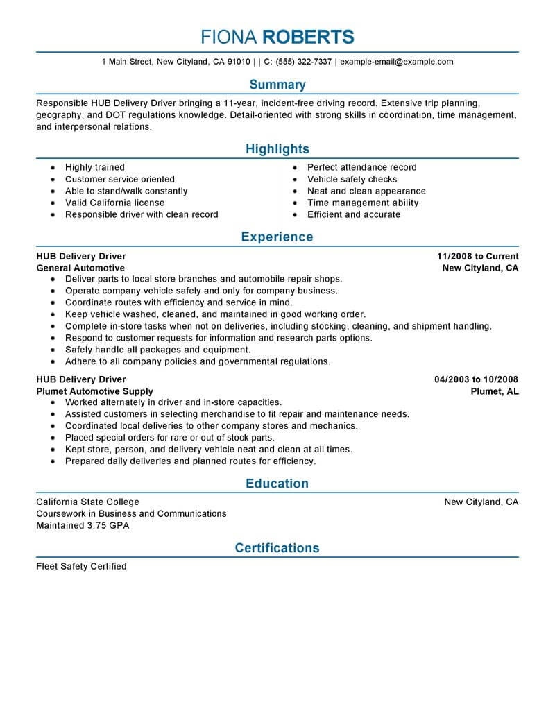best hub delivery driver resume example from professional