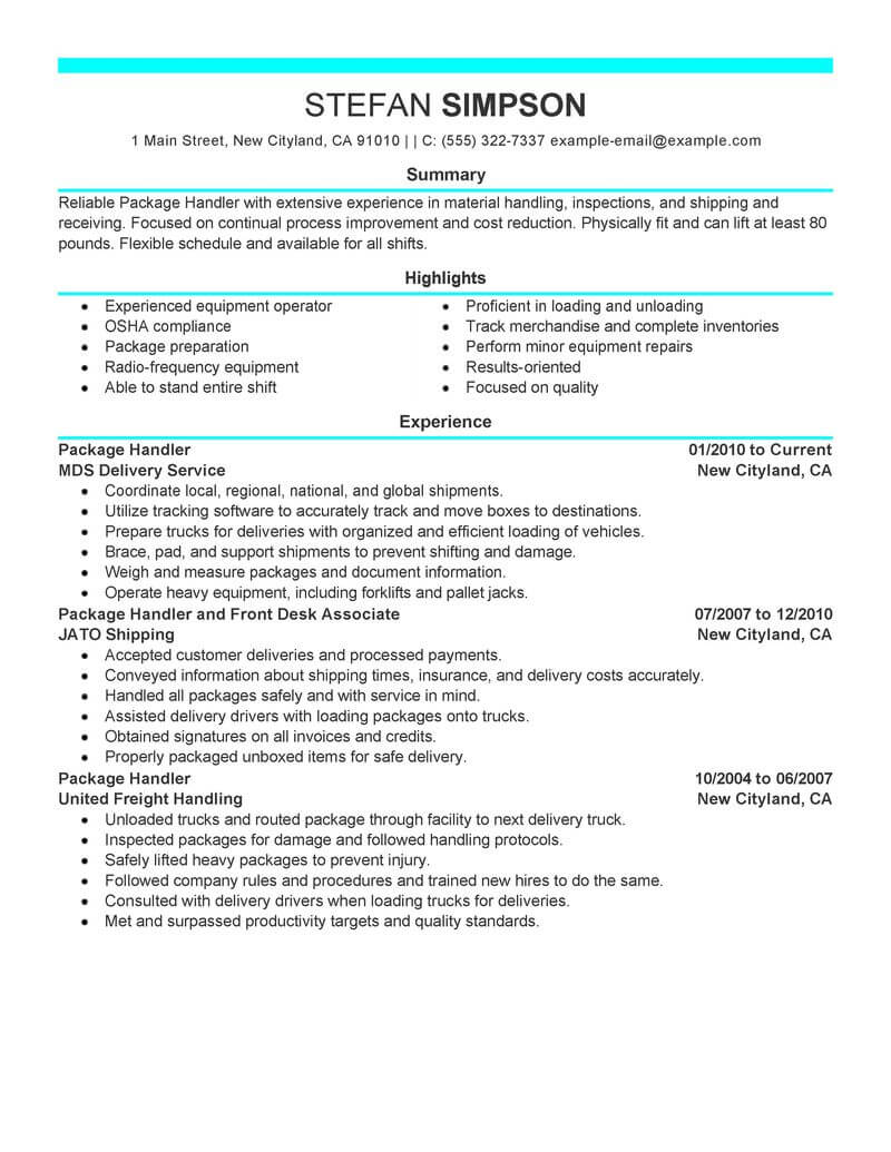 best package handler resume example from professional