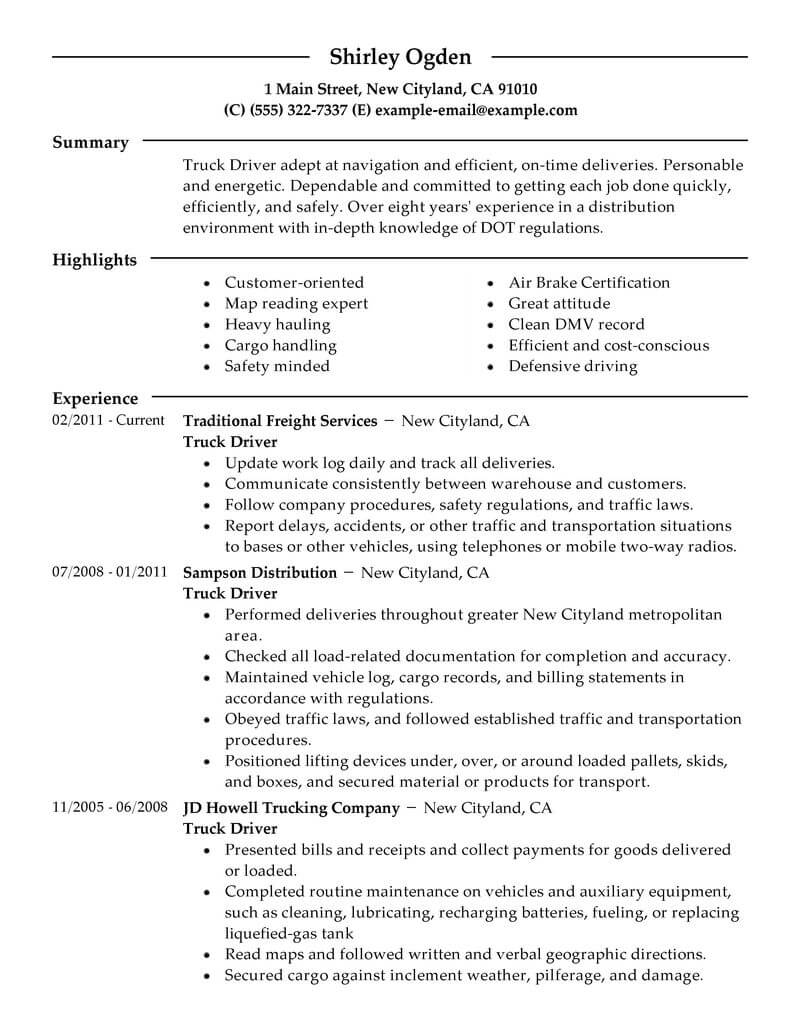 best truck driver resume example from professional resume