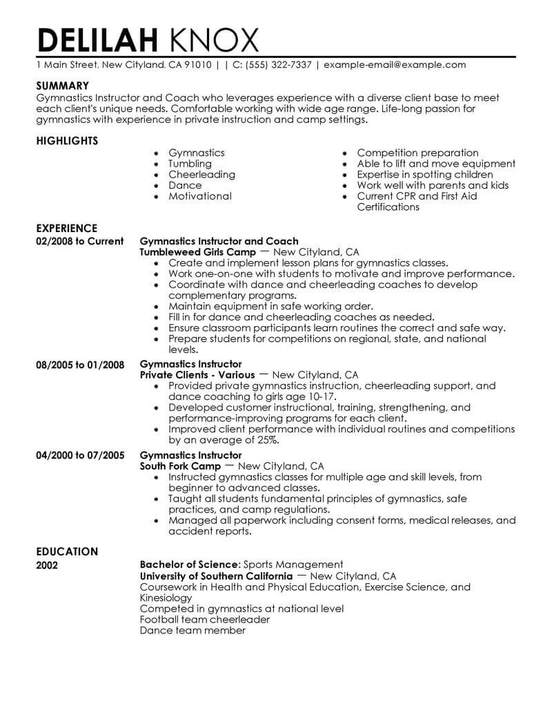 best gymnastics instructor resume example from