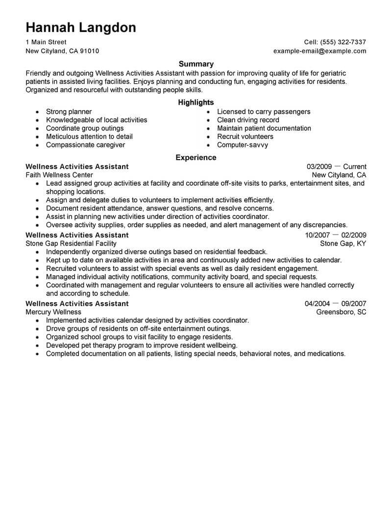 best wellness activities assistant resume example from professional resume writing service